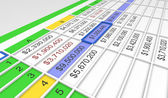3d spreadsheet — Stock Photo