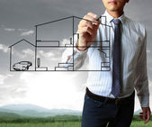 Drawing a house — Stock Photo