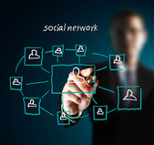 Drawing social network — Stock Photo