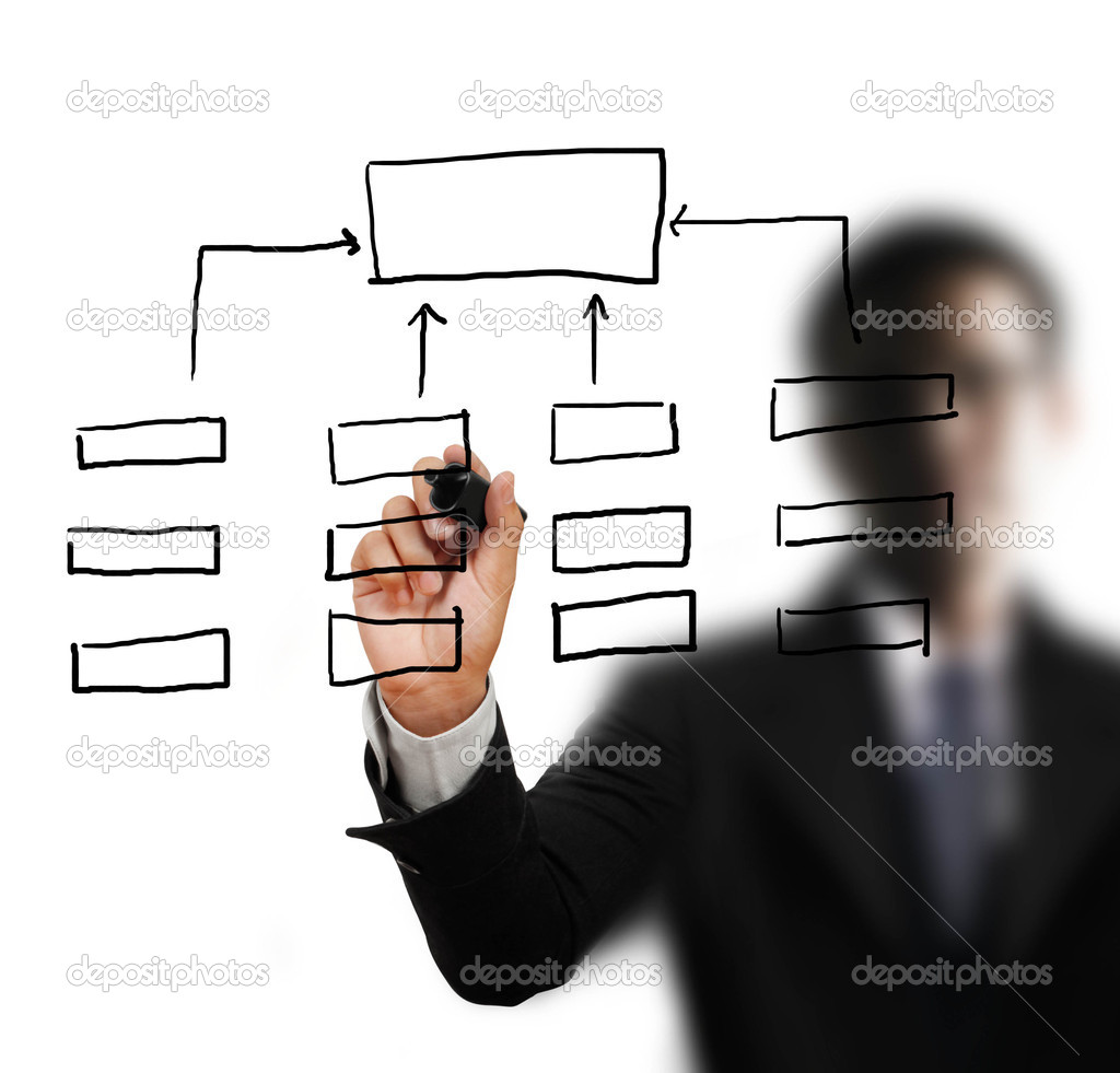 Hand drawing empty diagram on virtual whiteboard — Stock Photo #10909645