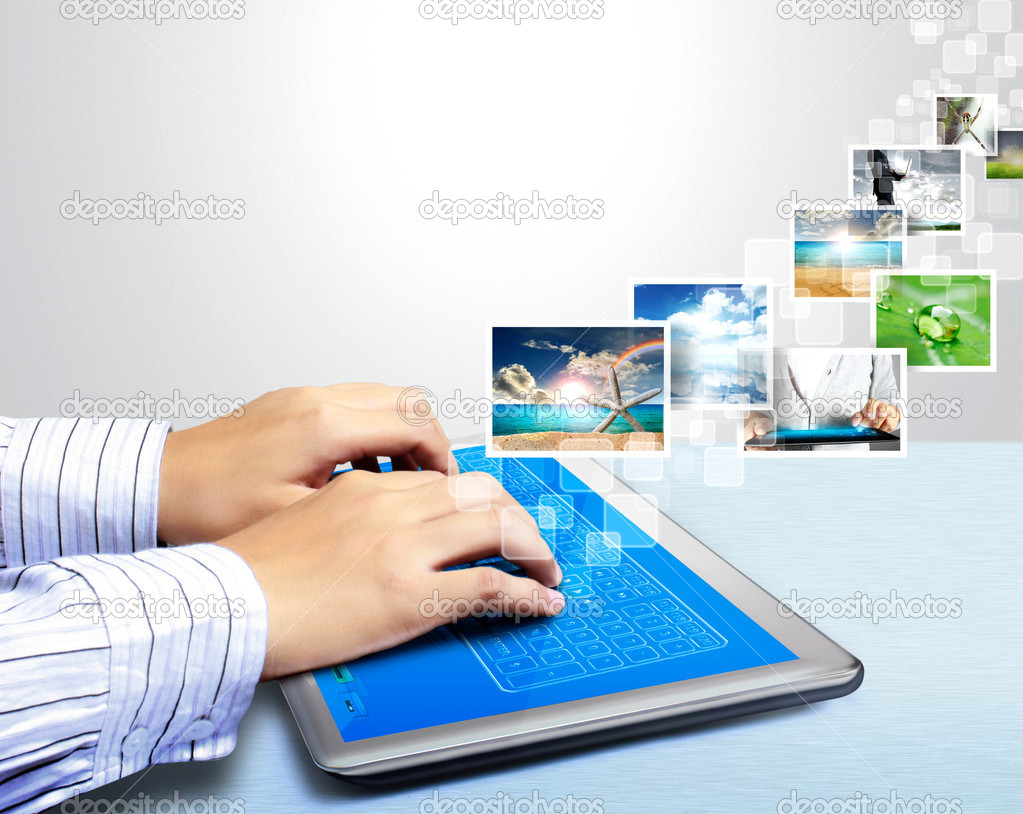 Hands are holding and point on touch digital tablet screen device — Stock Photo #10973891