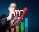 Negócios, tocando com o gráfico de estatísticas — Foto Stock