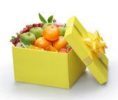 Open yellow gift box — Stock Photo