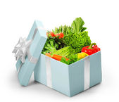Open gift box With vegetables — Stock Photo