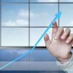 Постер, плакат: Business touching with statistics graph
