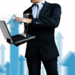 Business man with laptop — Stock Photo