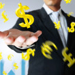 Businessman with a money icon — Stockfoto