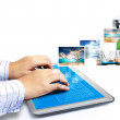 Touch tablet concept images streaming — Stock Photo #11527345