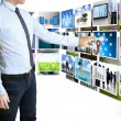 Businessmen and Reaching images streaming — Stockfoto