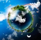 Taşıma ve yaşam tarzları, çeşitli modları gösterilen küre — Stok fotoğraf