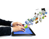 Touch tablet concept images streaming — Stock Photo