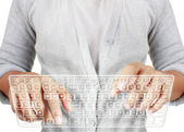 Typing in on a virtual keyboard — Stock Photo