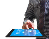 Hands are pointing on touch screen ,touch- tablet — Stock Photo