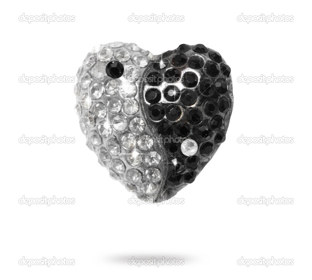 Yin Yang hearts diamonds isolated on white background — 图库照片 #11550606