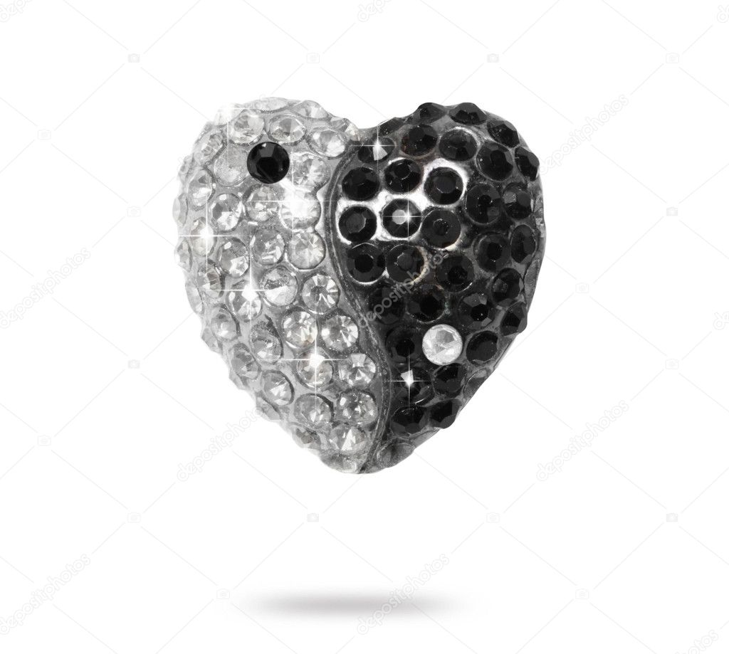 Yin Yang hearts diamonds isolated on white background — Stok fotoğraf #11550606