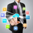 Stock Photo: Pushing on touch screen social network