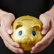 Putting coin into the piggy bank — Stock Photo