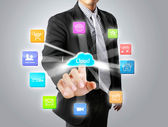 Pushing on touch screen social network — Stock Photo