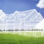 nową wizję domu na zielony łąka — Zdjęcie stockowe