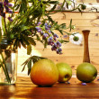 Apples on a timber floor — Stock Photo