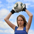 Football. Girl - goalkeeper — Stock Photo #11378116
