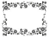 Design frame with with black swirling decorative floral elements ornament — Stock Vector