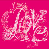 Valentine s Day card. The inscription love in the style of abstract floral pattern on a pink background. T-shirt design — Stock Vector