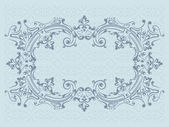 Marco de diseño con elementos decorativos remolinos sobre un fondo azul ornamental — Vector de stock