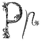Letter P p in the style of abstract floral pattern on a white background — Stock Vector