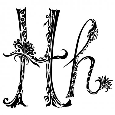 h alphabet in style  Letter H h in