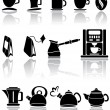 Set of coffee and tea icons — Vector de stock