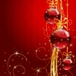 Christmas background with red balls — Imagen vectorial
