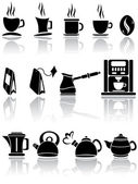 Set of coffee and tea icons — Stock Vector