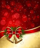 Fondo de navidad con luces borrosas y campanas — Vector de stock