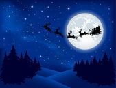 Santa's sleigh on Moon background — Stock Vector