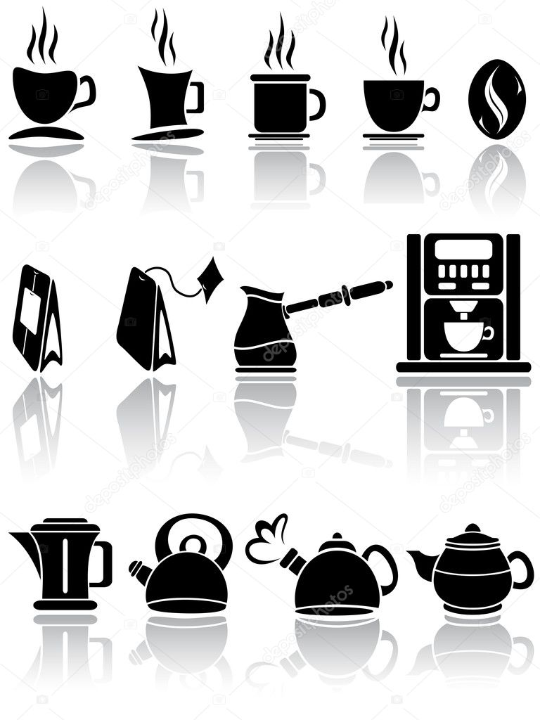 Set of coffee and tea icons, illustration  — Stock Vector #10749464