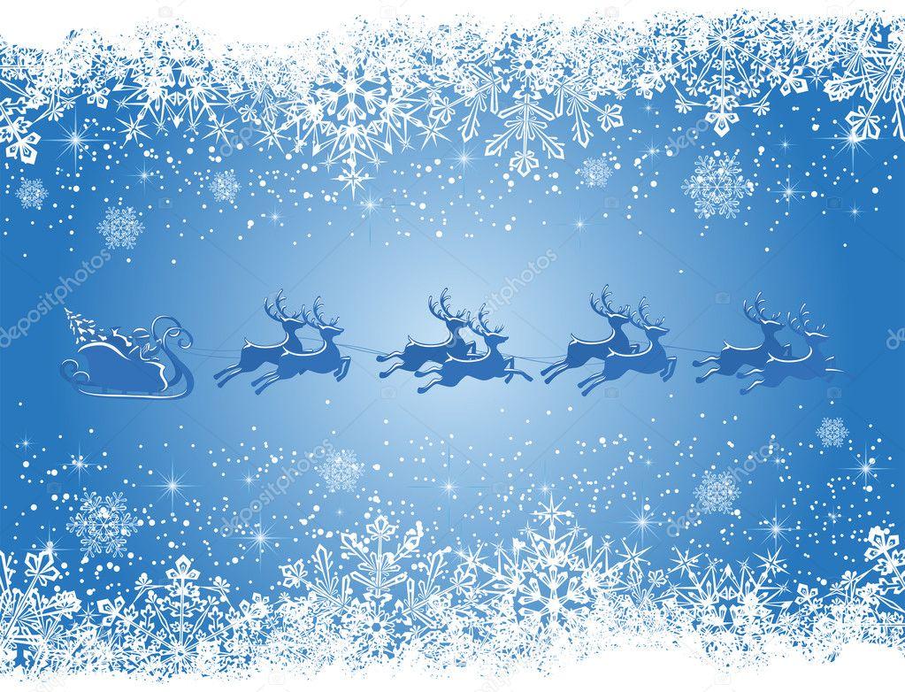 blaue weihnachten hintergrund mit schneeflocken und santa. Black Bedroom Furniture Sets. Home Design Ideas