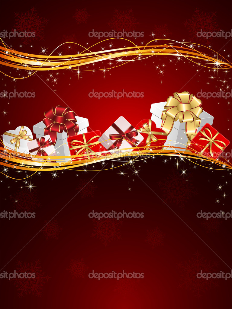 Christmas background with Presents and snowflakes, illustration — Imagen vectorial #10749766