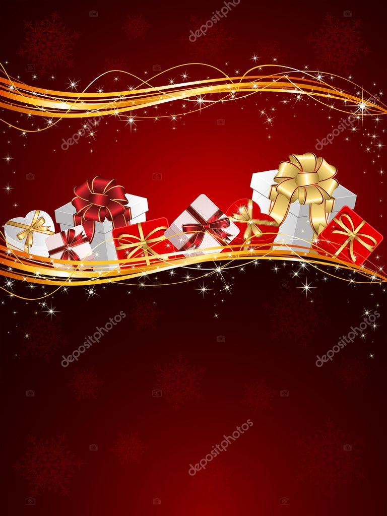 Christmas background with Presents and snowflakes, illustration — Stockvectorbeeld #10749766