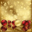 Golden background with Christmas baubles — Stock Vector