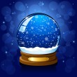 Christmas Snow globe on blue background — Stock Vector #10759514