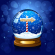 Christmas Snow globe with North pole sign — Stock Vector