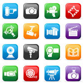Set of colored video buttons — Stock Vector