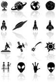 Icone di spazio — Vettoriale Stock