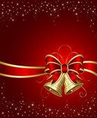 Campanas de navidad con cinta roja — Vector de stock