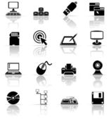 Set of black computer icons — Stock Vector