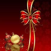 Rode achtergrond met kerstballen — Stockvector