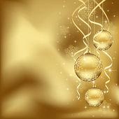 Golden Christmas baubles — Stock Vector