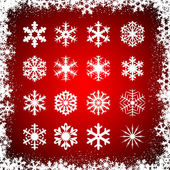Snowflakes on red background — Stock Vector