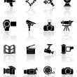Set of black photo-video icons - Stok Vektr